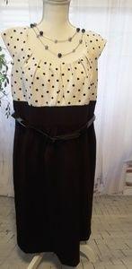 Dressbarn woman black white polka dot dress sz 14W